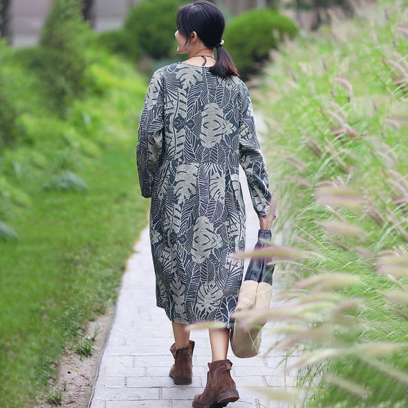 Retro Boat Neck Long Sleeve Pockets Pleated Printing Dress - Buykud