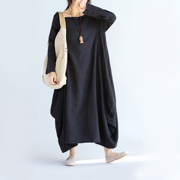 Women Linen Loose Black Maxi Dress