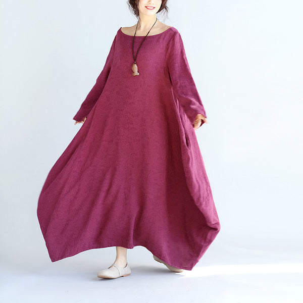 Women Linen Loose Purple Maxi Dress