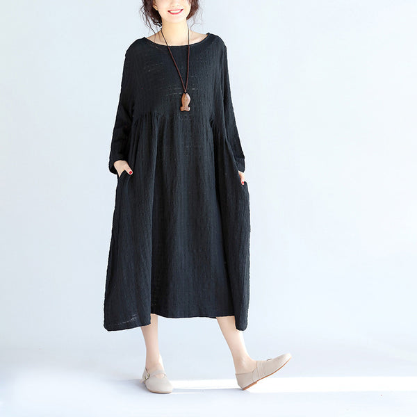 Spring Round Neck Loose Black Dress