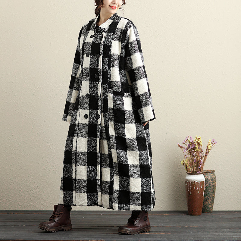 Fashionable Long Sleeves Black And White Lattice Thick Women Coat - Buykud