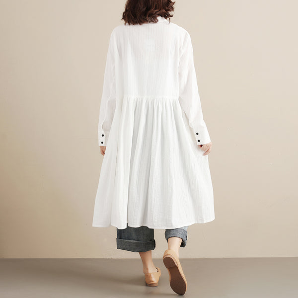 Long Sleeve Women Applique White Dress - Buykud