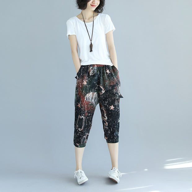 Vintage Women Printed Elastic Waist Cotton Pants - Buykud