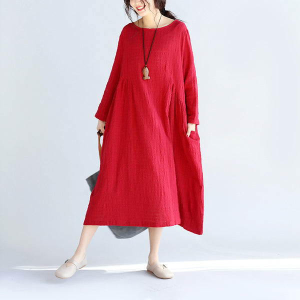 Spring Round Neck Loose Red Dress
