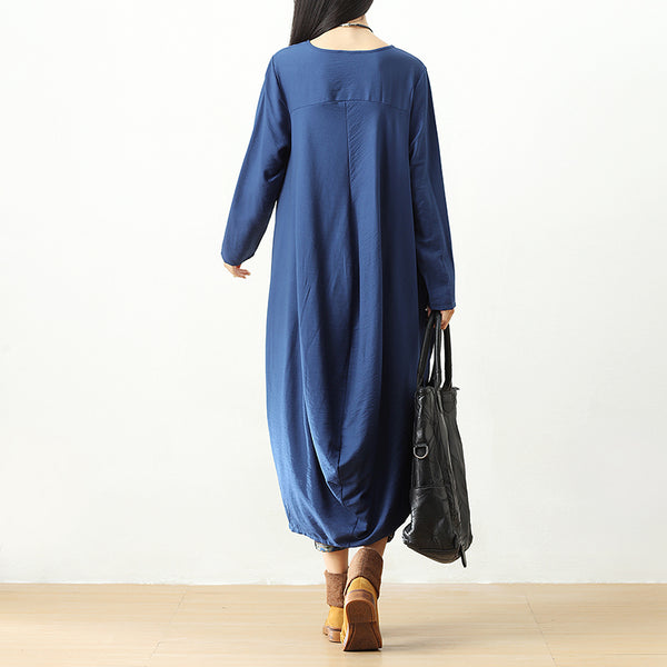 Women Casual Loose Long Sleeve Pleated Irregular Blue Dress - Buykud