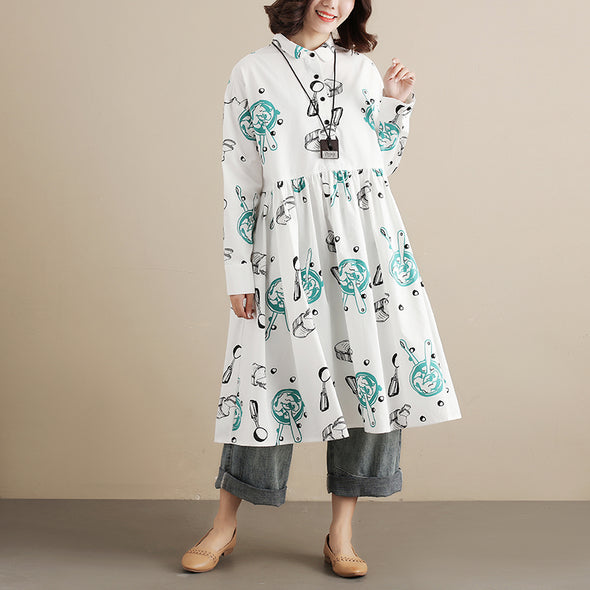 Printing Long Sleeve Autumn Women White Pleated Dress - Buykud