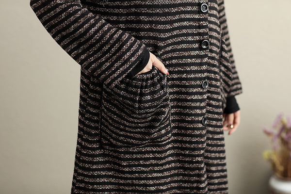 Fashion Hoody Long Sleeves Single Breasted Dark Coffee Stripe Women Coat - Buykud