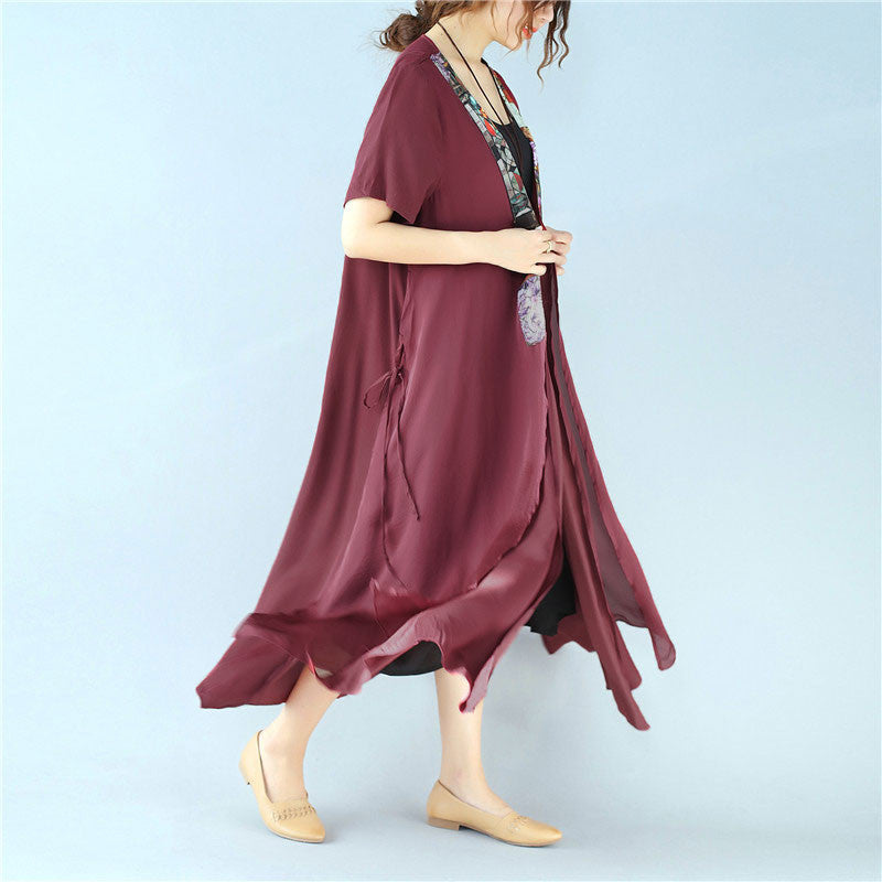 Retro Splitting Women Summer Lacing Splicing Printing Red Coat - Buykud