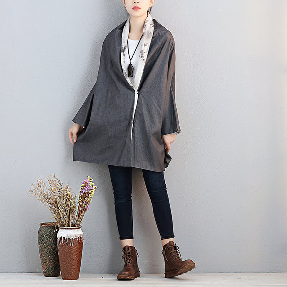 Literature Women Polo Collar Bat Sleeve Printing Gray Shirt - Buykud