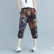 Vintage Women Printed Elastic Waist Cotton Pants