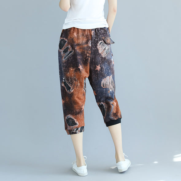 Retro Women Printed Elastic Waist Cotton Pants - Buykud
