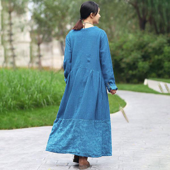 Retro Long Sleeve Pockets Pleated Splicing Blue Dress - Buykud