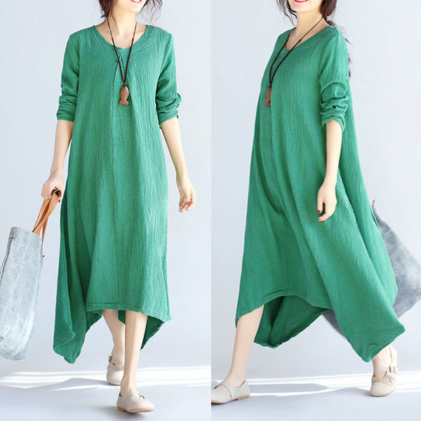 Irregular Casual Women Linen Green Dress