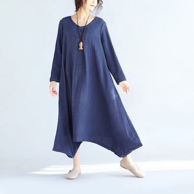 Irregular Casual Women Linen Navy Blue Dress - Buykud