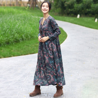 Women V Neck Long Sleeve Printing Splitting Black Pleated Dress - Buykud