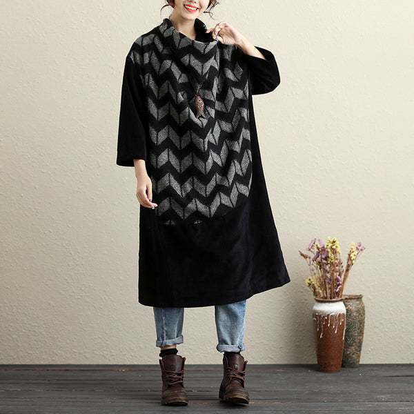 Turtle Neck Long Sleeves Literature Winter Black And Gray Women Dress - Buykud