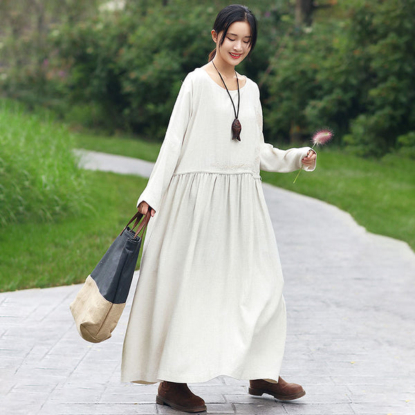 Chic Embroidery Round Neck Long Sleeves Splicing Beige Women Dress - Buykud
