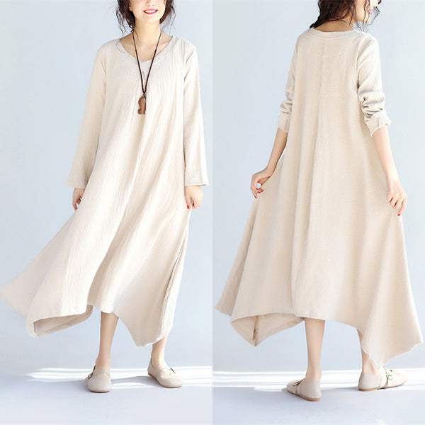 Irregular Casual Women Linen Beige Dress