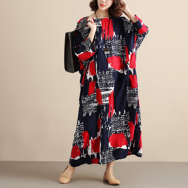 Round Neck Printing Casual Loose Women Red Dress