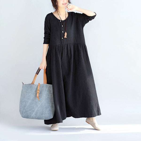 Women Long Sleeves Linen Black Dress