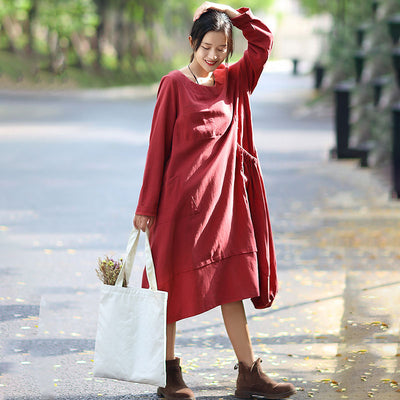 Fashionable Round Neck Long Sleeves Red Autumn Dress For Women - Buykud