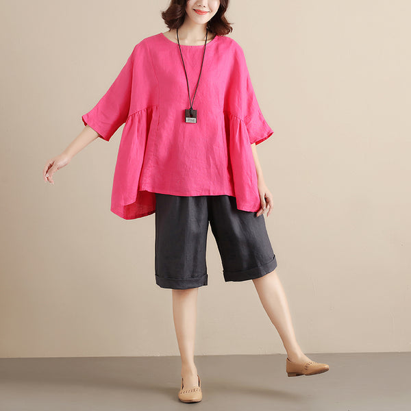 Casual Linen Short Sleeves Splicing Pleated Loose Women Rose Red Shirt - Buykud