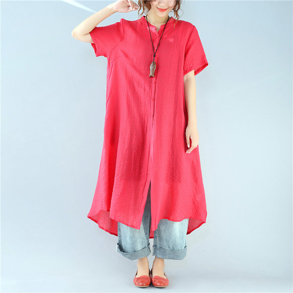 Loose Black Stripes Short Sleeve Pocket Casual Women Red Dress - Buykud