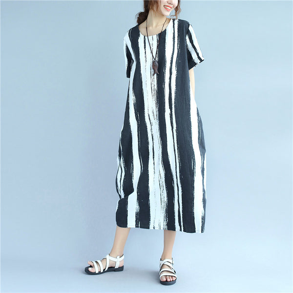 Casual Cotton Linen Round Neck  Black And White Stripes Loose Women Dress - Buykud