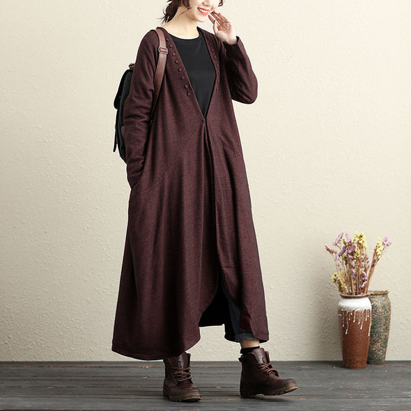 Long Sleeve Buttons Trim Loose Hem Red Cardigan Coat For Women - Buykud