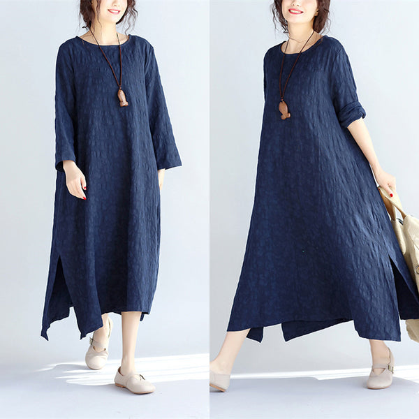 Spring Retro Casual Loose Navy Blue Dress