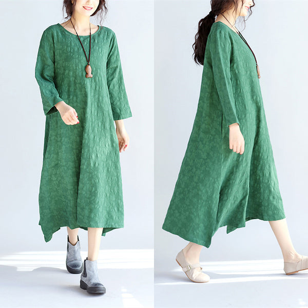 Spring Retro Casual Loose Green Dress