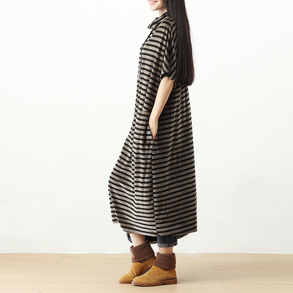 Women Stripe Semi-High Collar Short Sleeve Pockets Dress - Buykud