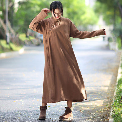 Stand Collar Long Sleeve Ethnic Women Loose Casual Coffee Long Dress - Buykud
