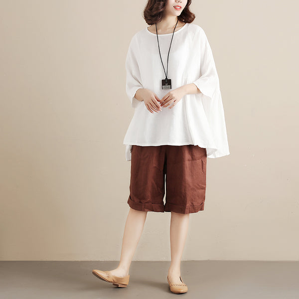 Casual Linen Short Sleeves Splicing Pleated Loose Women White Shirt - Buykud