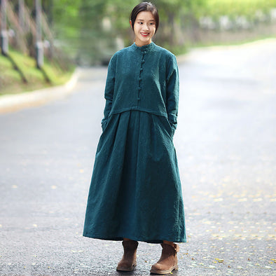 Retro Linen Long Sleeve Stand Collar Pockets Embroidery Pleated Dress - Buykud