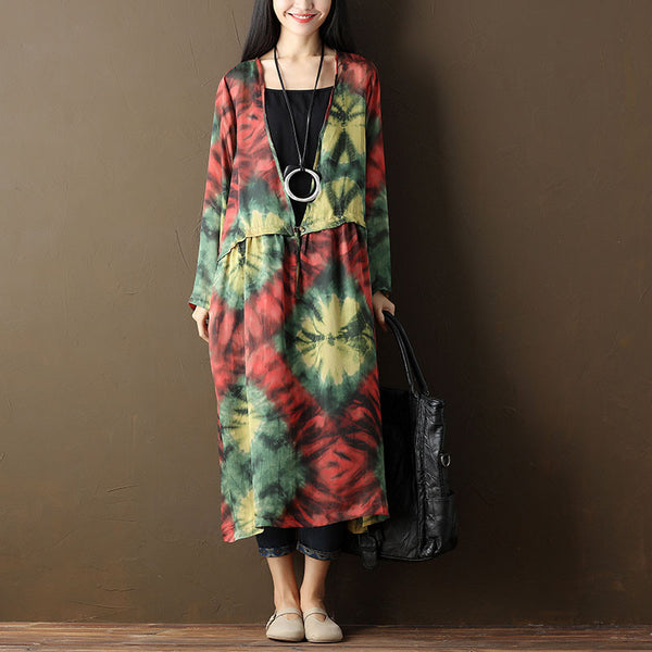 Women Printing Casual Loose Long Sleeve Dress - Buykud