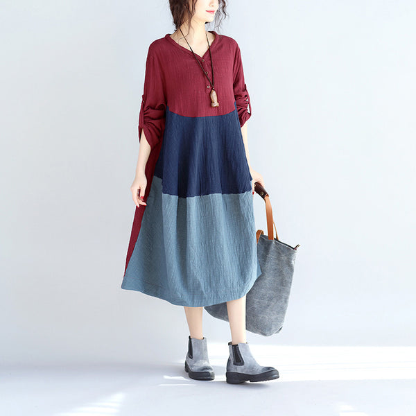 Women Linen Splicing Pocket Dress - Buykud