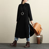 Chic Hollow Out Stand Collar Long Sleeve Slit Women Black Dress - Buykud
