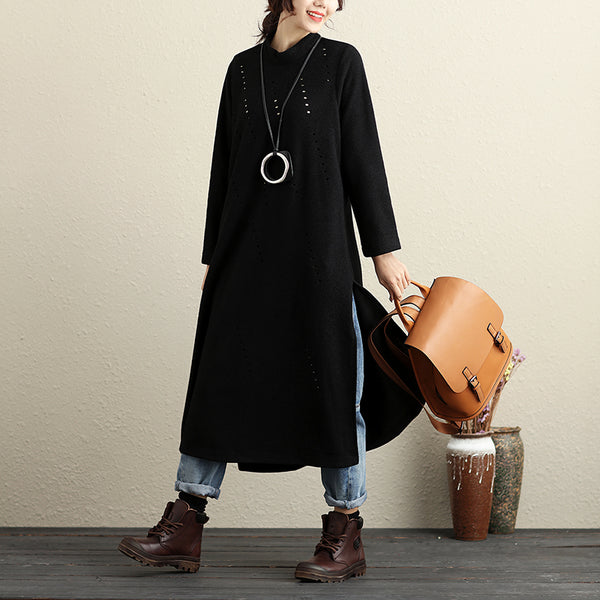 Chic Hollow Out Stand Collar Long Sleeve Slit Women Black Dress