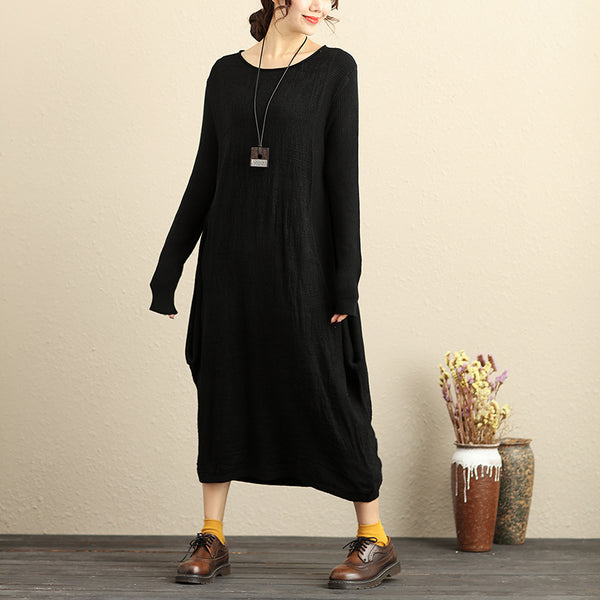Loose Long Sleeve Knitted Round Neck Black Knitted Sweater Dress