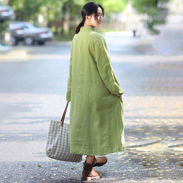 Stand Collar Long Sleeve Ethnic Women Loose Casual Green Long Dress - Buykud