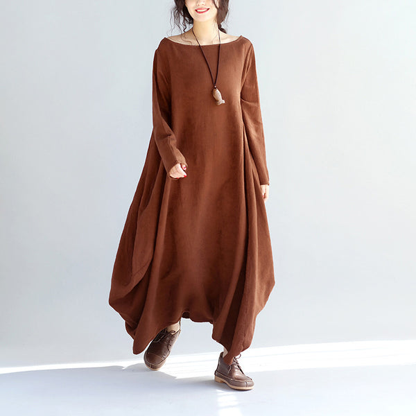 Women Linen Loose Coffee Maxi Dress