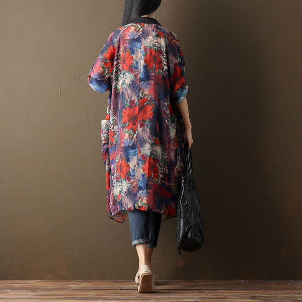 Women Printing Chic Loose Three Quarter Sleeve Coat - Buykud