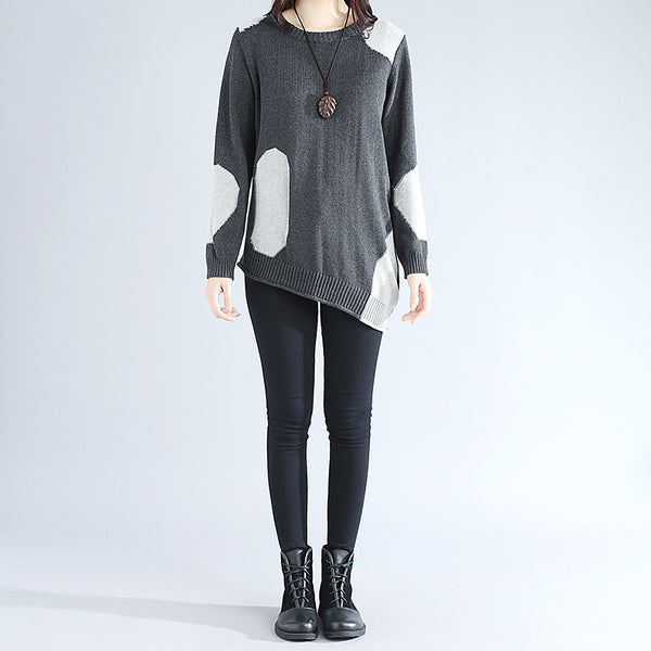 Women Long Sleeve Irregular Splicing Knitted Dark Gray Sweater Shirt - Buykud