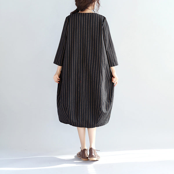 Stripe Round Neck Loose Women Black Dress - Buykud