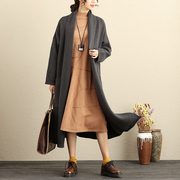 Literature Gray Thick Loose Long Cardigan Sweater Coat For Women