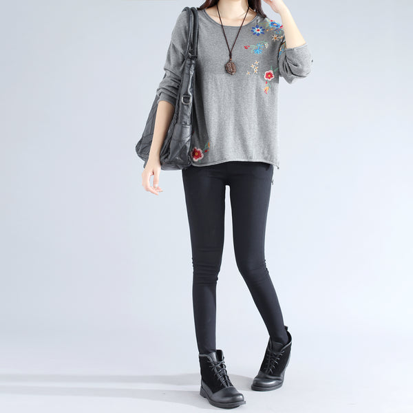 Elegant Chic Embroidery Long Sleeves Side Slit Gray Women Shirt - Buykud