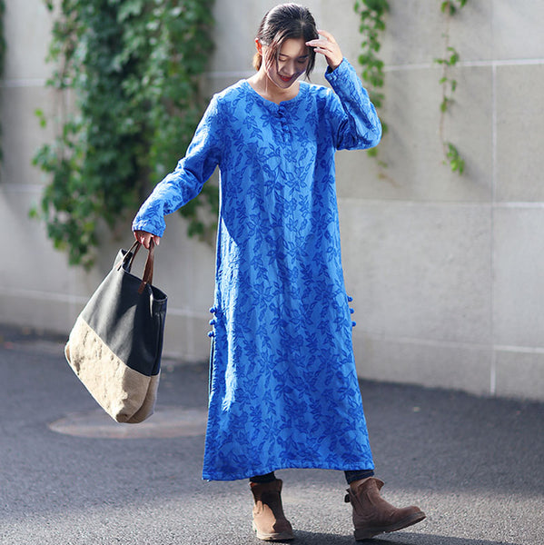 Autumn Round Neck Retro Jacquard Long Sleeve Blue Dress For Women - Buykud