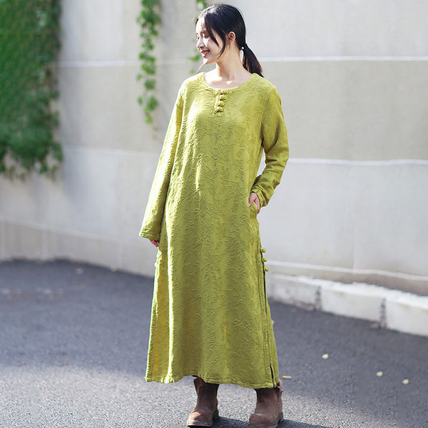 Autumn Round Neck Retro Jacquard Long Sleeve Yellow Dress For Women - Buykud