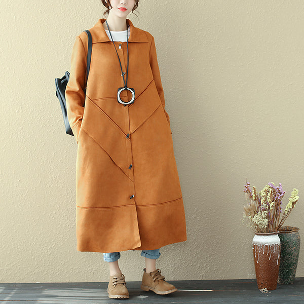 Autumn Long Sleeve Simple Yellow Brown Coat For Women - Buykud